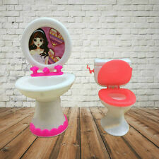 Closestool Washbasin Toilet Wash Devices for Barbie Doll's House Furniture