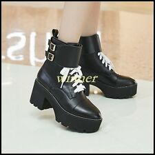 British womens buckle chunky heels platform creeper lace up black ankle boots sz