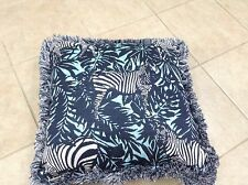 Frontgate Outdoor Patio Blue Zebra Jungle Aruba Chair Sofa Throw Pillow 20x20