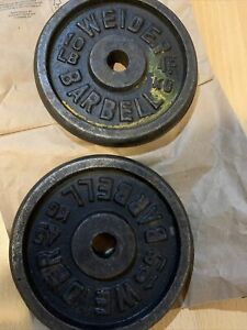 """2 VINTAGE WEIDER 10 LB BARBELL WEIGHT PLATES STANDARD 1"""" HOLE"""