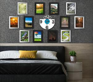 "[Set of 12] Black & Silver 5""x7"" Photo Frames Styrene Front Portrait Wall Mount"
