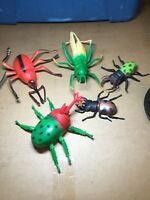 Lot Of 5 Insects Plastic Rubber Toy Figures Bugs Grasshopper Rhinobee & More