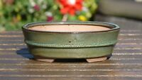 Bonsai Pot. 18 cm Green Oval Glazed Bonsai Pot