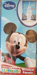 """Disney Junior Mickey Mouse Clubhouse Window Panels 2 Curtains 82"""" W X 63"""" L NEW"""