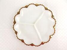 "Vintage White Milk Glass Divided Serving Relish Plate 10"" Gold Trim #3381"