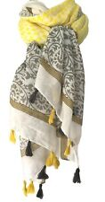 Yellow Tassel Scarf Grey Cream Ladies Oversized Cotton Blend Festival Wrap Shawl