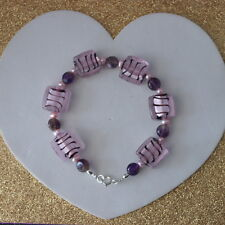 """Beautiful Bracelet With Murano Class Amethyst Gem And Pink Pearls 8""""12 In Long"""