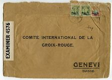 CHINA 1944 Red Cross cover Shanghai to Geneva $50, $6, $1 Japanese censor chop