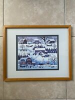 Charles Wysocki Plumbelly's Doughnuts Playground Winter Christmas Print Framed