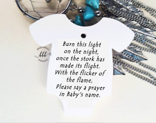 10 White Gift Tags Bomboniere Baby Shower Favour Burn this light