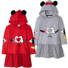 Disney Minnie Mickey Mouse Girls Warm Hoodie Hooded Dress Tunic costume 2-8 Yrs