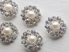 Bridal Embellishment, 10 Silver Metal Buttons with Ivory Pearl, Rhinestone 21mm