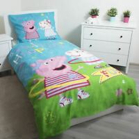 Peppa pig Hula Set Housse de Couette Simple 100% Coton Literie Réversible