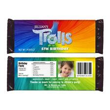 12 Trolls Movie Custom Personalized Birthday Party Candy Wrappers with Photo