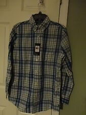 CHAPS MEN'S CHECK PRINT BLUE FULL SLEEVES SHIRT SIZE S