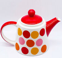 """Vtg MCM Peacock Creations Hand Painted Polka Dotted Personal Tea Pot 7.5""""W 4.5""""H"""