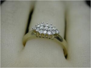 Diamond Cluster Ring UK N 9ct Gold 0.25ct genuine Diamonds HM Beautiful Quality.
