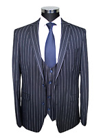 Jack Martin - Navy Chalk Stripe Superior Semi Slim Fit 3 Piece Suit