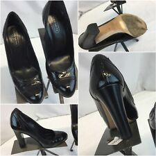 Coach Heels Shoes Sz 8 B Black Leather Made in Italy 4-Inch Mint YGI F9S-45