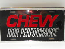 CHEVY HIGH PERFORMANCE ALUM LICENSE PLATE RED BLACK MADE IN USA CHEVROLET CAMARO