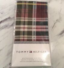 NEW Tommy Hilfiger Set of Four Holiday Plaid Napkins 20 Inches x 20 Inches