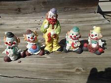 Vintage Clown figurines lot sitting & Standing Clowns Porcelain ? unmarked 5