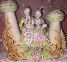 Antique Duel Porcelain Bisque CANDLEHOLDER W Figurine Pastels Germany RARE Gilt