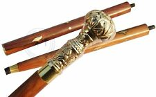 Antique Brass Handle Walking Stick Sturdy Brown Shaft Wooden Camping Canes Gift