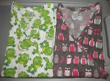Lot of 2 Just Be Women's Medical Nursing Scrub Tops Frogs & Owls Size M
