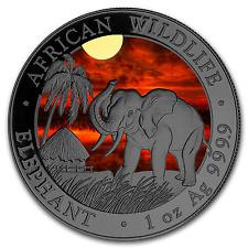 Silver Somalia Elephant 2017 Sunset Colorized & Ruthenium plated Coin + box, CoA