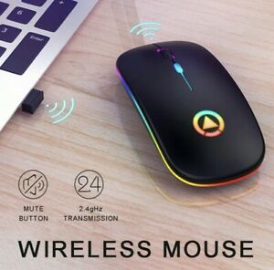 2.4GHz Wireless Optical Mouse Mice USB Rechargeable RGB For PC Laptop Computer