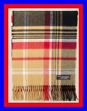 100% Cashmere Scarf Camel Black Check Plaid Scottish Ghram Nova Wool Men ZJSF
