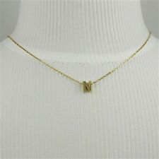 Gold Block Letter Initial N Necklace