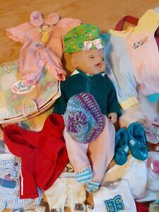 Baby Born Puppe 43 cm gebraucht Kleidung Paket Sachen Wickeltasche Schuhe