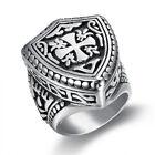 Stainless Steel Jerusalem Cross Knights Templar Ring Size 7-13