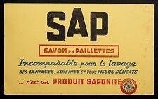 BUVARD PUBLICITAIRE ANCIEN : SAVON SAP - SAPONITE