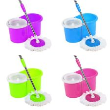 360° Spin Mops Bucket Home Cleaning 3 Spinning Rotating Microfibre Dry Heads UK