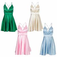 Women's Short Homecoming Dress Satin Spaghetti Straps V-Neck Evening Party Dress