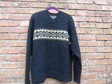 Abercrombie & Fitch Men's V-Neck Sweater Sz M 100% Wool Lodge Style Blue Beige