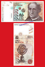 ESPAÑA SPAIN 5000 pesetas 1992 COLON SIN SERIE Pick 165 SC / UNC