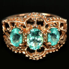 NATURAL AAA BLUE APATITE OVAL STERLING 925 SILVER ETERNITY RING SIZE 7.75