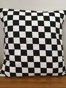 "Black and White 'checkerboard' 16"" x 16"" Cushion Cover 100% Cotton"