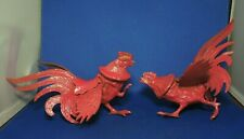 Red Fighting Cocks Rooster Brass Sculptures Made in Japan