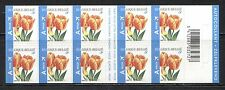 FLOWERS: TULIPS ON BELGIUM 2005 Scott 2092a SELF-ADHESIVE BOOKLET NOT FOLDED MNH
