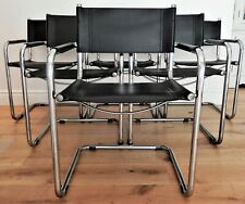 6 X 1970's Black Leather MG5 Cantilever chairs by Marcel Breuer Made in Italy