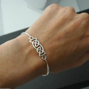 Celtic Knot Trinity Bangle Bracelet - 925 Sterling Silver - Celtic Irish Cuff