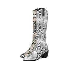Women Mid-calf Boots Snakeskin Print Retro Chunky Heels Pointed Toe Casual Shoes