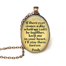 Winnie the Pooh Quote Necklace Pendant and 24in Chain Antique Bronze with Pouch