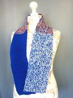 écharpe en laine crochet grosse maille fait mains Vintage 125X15 CM