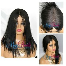 "Braided Wig-2"" by 6"" closure lace wig- Senegalese -- medium twists- jet black"